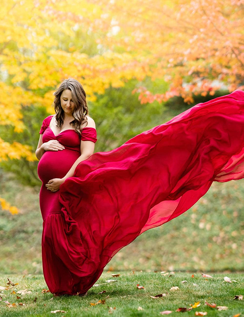 ORQ Maternity Off Shoulder Chiffon Gown for Photo Props Dress Maxi Photography Dress for Photoshoot