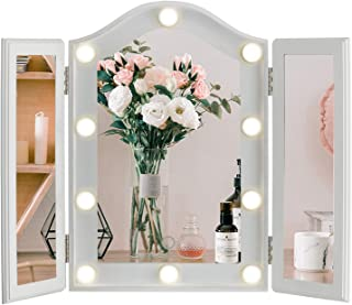 LUXFURNI Makeup Mirror with LED Lights, Large Hollywood Vanity Tri- fold Table Mirror with Touch Screen Dimmable Lighted, ...