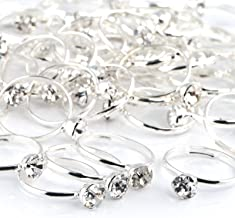 Bridal Shower Rings 52 Pack Silver Diamond Engagement Rings for Wedding Table Decorations, Party Favors, Arts & Crafts by Naler