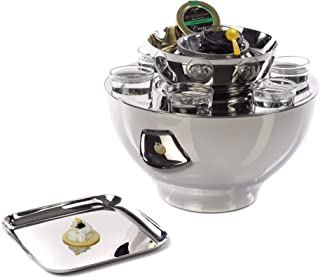 IMPULSE! Vienna Stainless Steel 6 Shot Glass Set and Caviar Serving Bowl