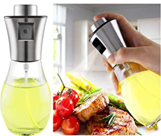 Olive Oil Sprayer, Transparent Food-grade Glass Oil Mister, Portable Cooking Oil Spray Vinegar Bottle Oil Dispenser for Kitchen, BBQ, Making Salard, Baking, Roasting, Grilling, Frying, Stainless Steel