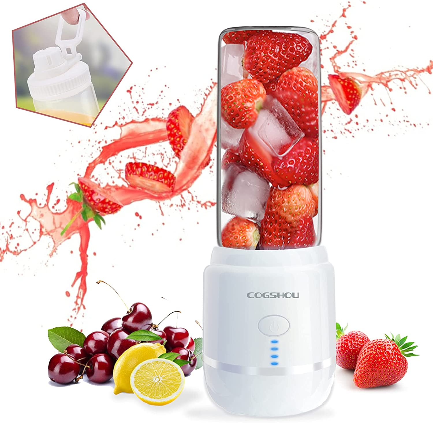 Portable Blender, Personal Size Blender USB Rechargeable with 6 Blades for Shakes and Smoothies, Fruit Juice Mixer, Mini Blender 15oz Jucie Cup for Sports,Travel,Gym,Office and Home