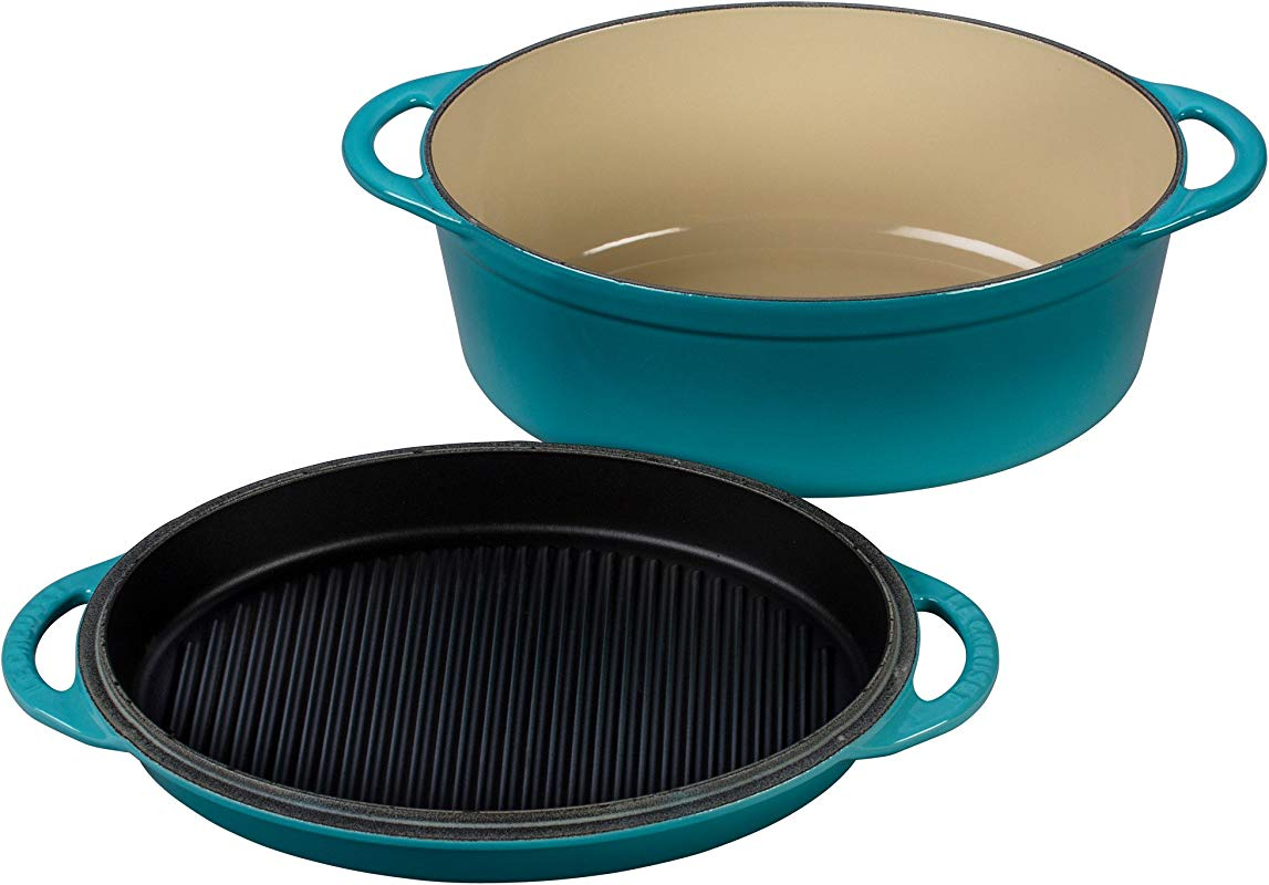 Le Creuset Cast Iron Oval Oven With Reversible Grill Pan Lid 4 3 4 Quart Caribbean