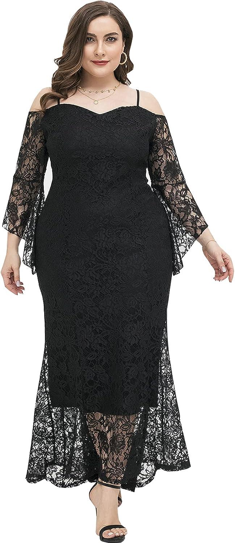 DolphinBanana Women Plus Size Black Floral Lace Evening Maxi Dresses