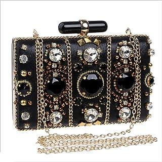 DIEBELLAU Ladies Beaded Evening Bag Fashion Ladies Dress Banquet Bag Cheongsam Evening Bag (Color : Black, Size : XS)