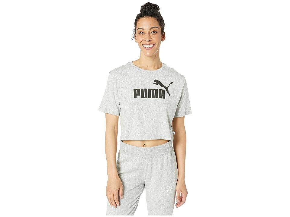 PUMA ESS+ Cropped Logo Tee (Light Grey Heather) Women