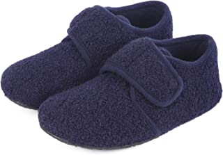 Comfort Boys Girls Wool Like House Slippers Kids Light Weight Anti-Skid Shoes with Adjustable Hook and Loop