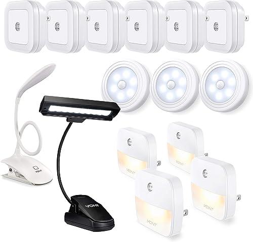 lowest Vont Motion Sensor Lights 3-Pack + Night Lights 6-Pack + Night Lights 4-Pack + 10-LED Clip Light + Clip Reading popular Light - Safe, online Energy Efficient All-in-One Night Lighting Pack Every Smart Home Must Have sale
