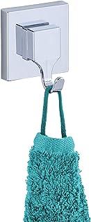 WENKO 22688100 Vacuum-Loc Wandhaken Quadro, 2er Set, Badhaken, Küchenhaken, Befestigen ohne bohren, Acrylnitril-Butadien-Styrol ABS, 6 x 7 x 5 cm, Glänzend