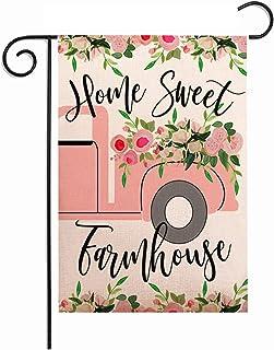 ZUEXT Home Sweet Farmhouse Spring Garden Flag 12.5x18 Inch Double Sided, Decorative Outdoor Pink Truck Floral Yard Flag,Seasonal Wedding Yard Decor Housewarming Hostess Gift