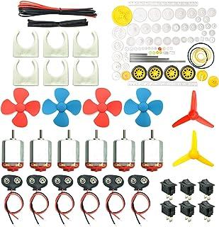 EUDAX 6 Set DC Motors Kit, Mini Electric Hobby Motor 3V -12V 25000 RPM Strong Magnetic with 86Pcs Plastic Gears, 9V Batter...