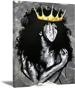 Black Queen Wall Art African American Black Queen Girl Canvas Wall Art African Black Art Prints Painting Abstract Contemporary Canvas Poster Home Decor for Bedroom Living Room Bar Hotel Wall Decor UNFRAMED
