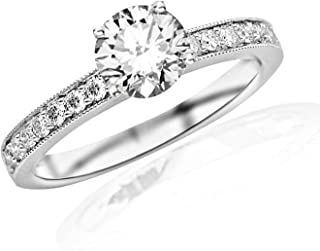 1.05 Carat 14K White Gold Classic Side Stone Pave Set With Milgrain Diamond Engagement Ring with a 0.75 Carat G-H SI2-I1 Center
