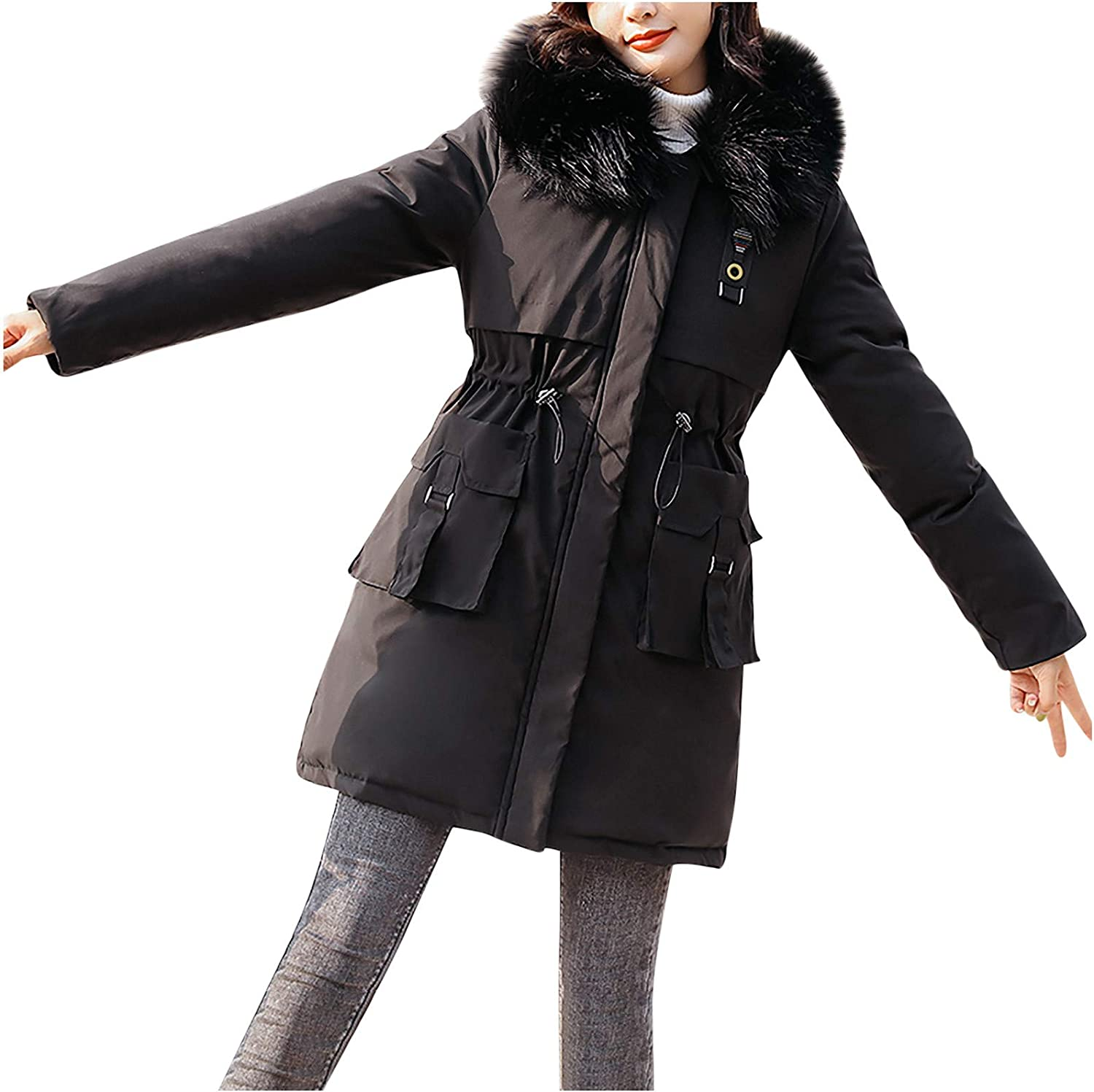 HGWXX7 Womens Overcoat Safety and trust Fashion Zip Up Faux Fur with Jacket Reservation Parka