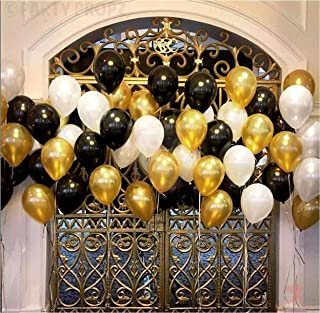 Party Propz Pack of 50 (Black, Golden and White) LATEX Balloon for Balloons for Decoration / birthday balloons / balloons ...
