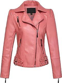 118f5b35691 chouyatou Women s Asymmetric Zip-Up Motorcycle Cropped Pu Leather Biker  Jackets