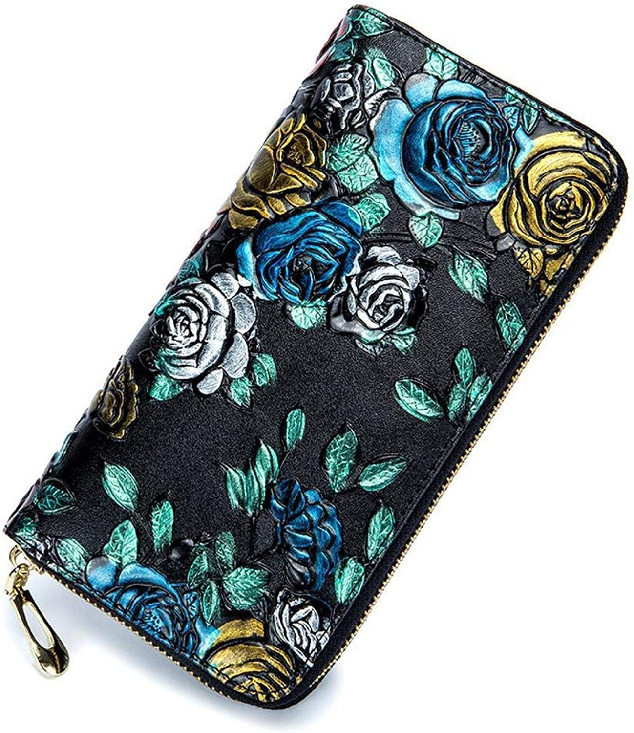 Girls Purse Women's Wallet Ladies Wallet Large pink Print Leather MultiClip (color   B)