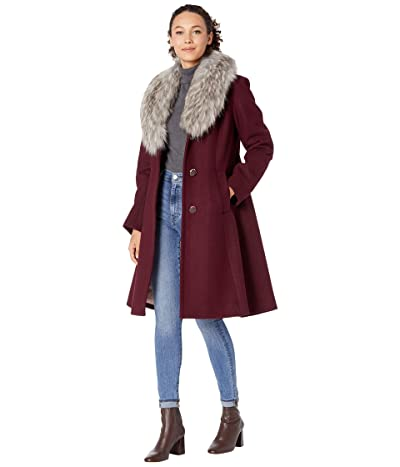 Kate Spade New York Fit-and-Flare Wool Coat w/ Faux Fur Collar (Mulberry) Women