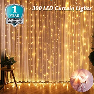 Window Curtain String Lights 300 LED, JIERAY String Lights Curtain, Curtain Lights Warm White for Bedroom Indoor Outdoor Patio Wall Decorations