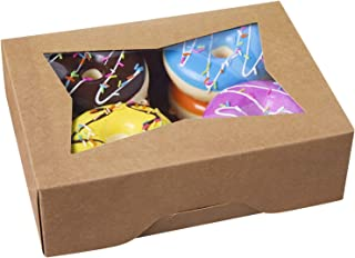 [25pcs]8inch Cookie Boxes with Window Lid,Brown Kraft Cardboard Pops Treat Gift Bakery Box for Muffins and Pastry,Dessert Donut Decorated Packaging in Bulk 8