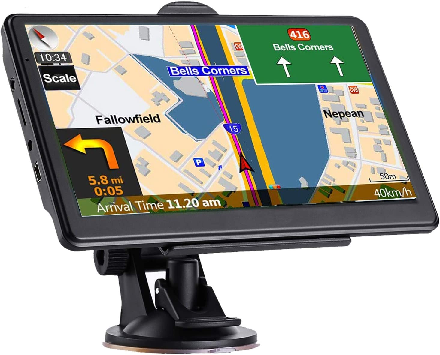 GPS Navigation for Car, Latest 2021 Map 7 inch Touch Screen Real Voice Spoken Turn-by-Turn Direction Reminding Navigation System for Cars, Vehicle GPS Satellite Navigator with