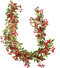 SOONHUA Fall Wreath, Christmas Leaves Garland with Red Berry Pine Cone 5.9ft Hanging Vine Garland Home Decoration Supplies...
