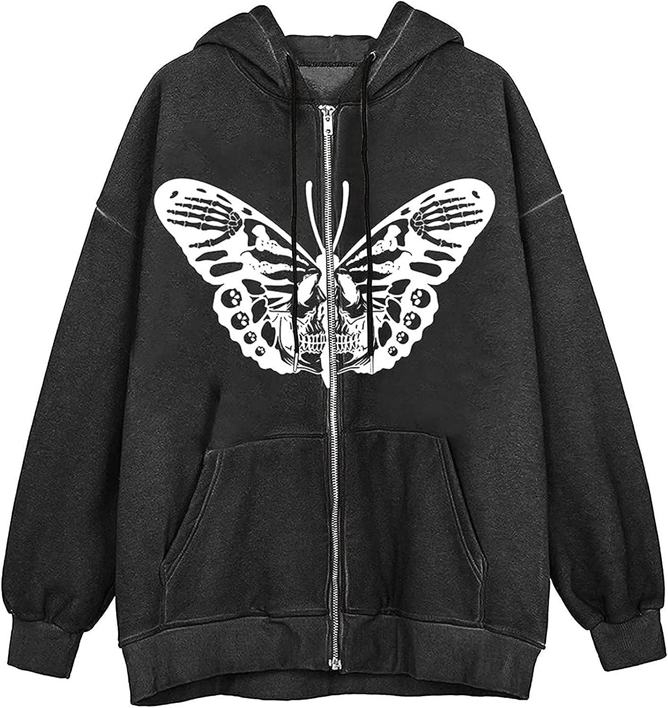 Sweatshirt for Women Punk Vintage Print Zip Jacket Oversized Coats Long Sleeve Drawstring Hoodies with Pocket
