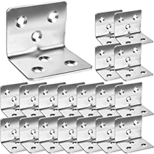"""80Pcs Stainless Steel Angle Brackets,1.2"""" x 1.2"""" x 1.5"""" Wide Small Corner Bracefor Joining Furniture, Heavy Duty 90 Degree L Shape Corner Bracket, Right Angle Bracket for Wood Cabinets Furniture"""