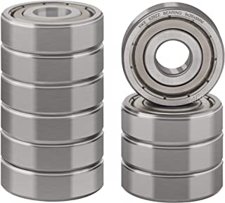 XiKe 10 Pcs 629ZZ Double Metal Seal Bearings 9x26x8mm, Pre-Lubricated and Stable Performance and Cost Effective, Deep Groo...