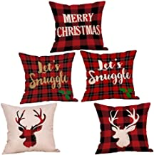 5Pc Christmas Emboss Printing Pillow Case Cushion Cover Sofa Home Car Decoration