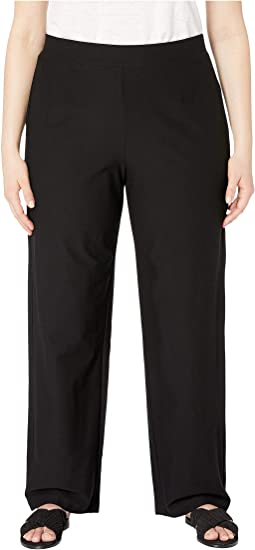 Plus Size Stretch Crepe Straight Pants
