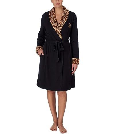 LAUREN Ralph Lauren Short Shawl Collar So Soft Lined Robe (Black) Women