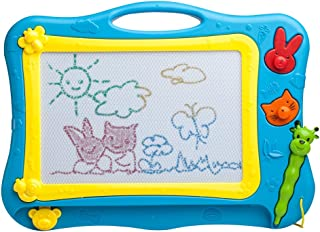 ikidsislands IKS77B [Travel Size] Color Magnetic Drawing Board for Kids, Doodle Board for Toddlers, Sketch Pad Toy for Little Boys (Blue)
