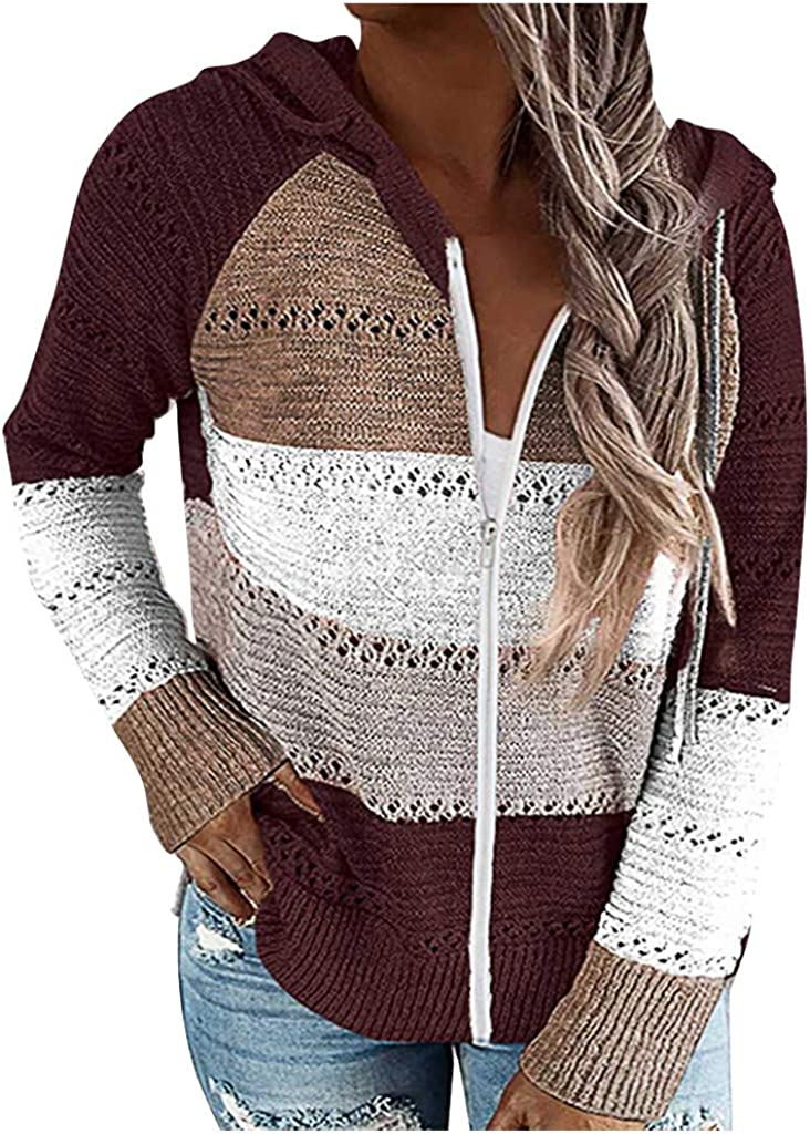 Vickyleb Sweaters for Women Womens Long Sleeve Cute Hoodies Pullover Casual Lightweight Knitted Sweater Tops
