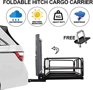 Rear Hitch Cargo Carrier Folding Basket with High Sides 2'' Receivers Rear Foldable Cargo Rack Luggage Basket Trailer Holder