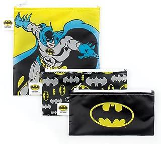 Bumkins DC Comics Batman Sandwich Bags/Snack Bags, Reusable, Washable, Food Safe, BPA Free, Pack of 3