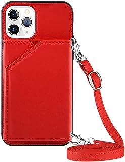 Porta carte di credito a portafoglio con cordino per iPhone 11 Pro Max (6,5 cm), colore: rosso