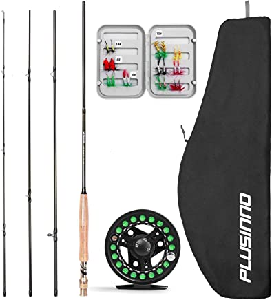 PLUSINNO Fly Fishing Rod and Reel Combo, 4 Piece...
