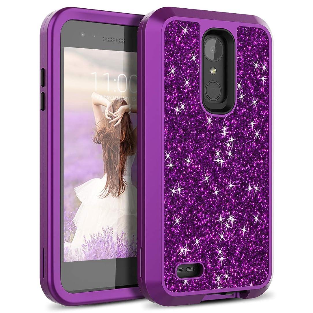 LG Aristo Case, LG K8 2017 / Phoenix 3 Case, WeLoveCase Bling Glitter Sparkle Case 3 in 1 Hybrid Shockproof Three Layer Heavy Duty Protective Cover Case for LG LV3/Aristo/Phoenix 3/LG Fortune Purple