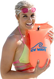 New Wave Swim Buoy - Swim Safety Float and Drybag for Open Water Swimmers Triathletes Kayakers Snorkelers, Open Water Swim...