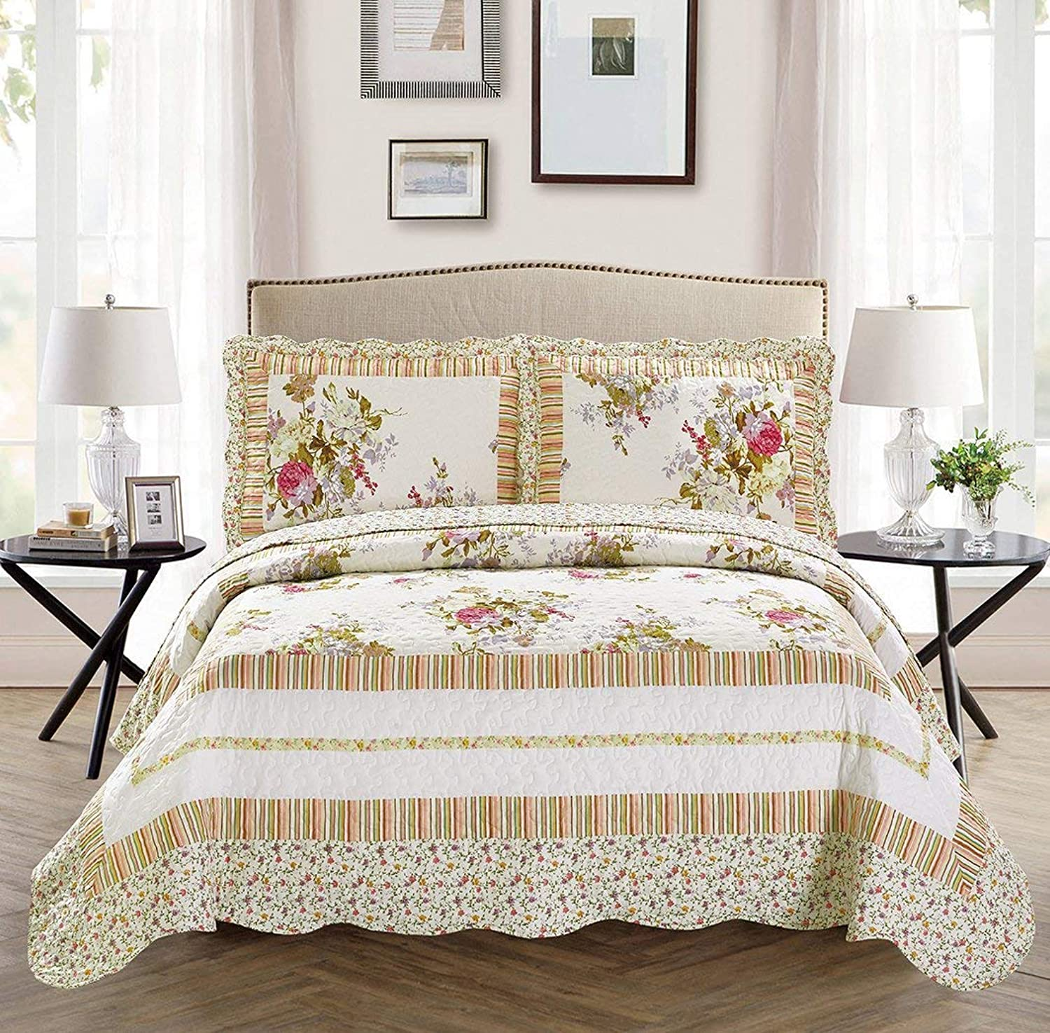 King California King 3pc Over Size Quilted Bedspread Set Reversible Floral White Lavender Green Pink
