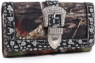 Mossy Oak ® Camouflage Tri-Fold Wallet w/ Rhinestone Buckle & Croco Trim -Camouflage/Silver Trim