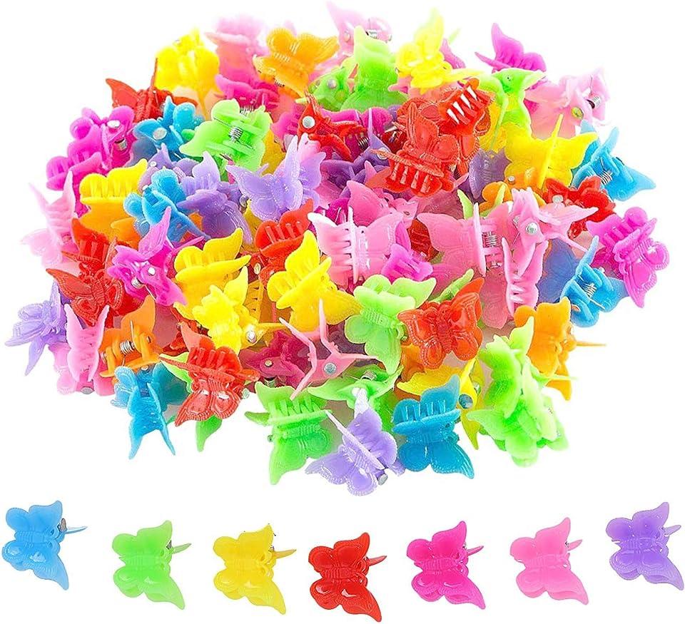 100 Stück Schmetterling Haarspange Klauen, Butterfly Hair Clips Claw Barrettes Mixed Color, Mini Haarschmuck Accessoires für Frauen und Mädchen, für Versammlungen, Klassenräume, Büros und Parteien