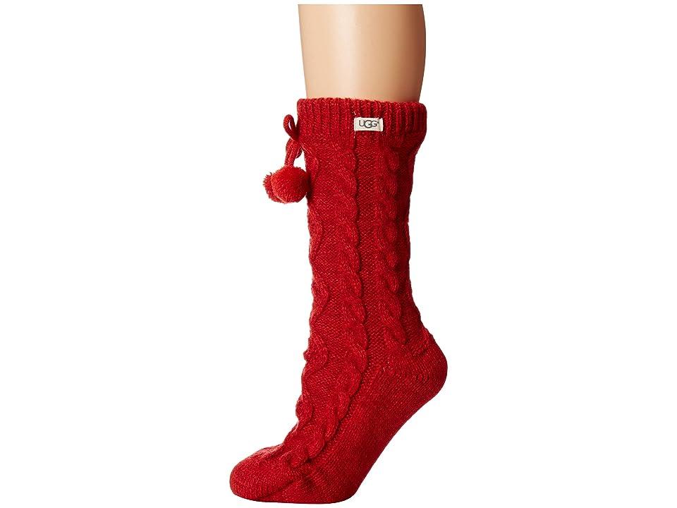UGG Pom Pom Fleece Lined Crew Sock (Poppy Red) Women's Crew Cut Socks Shoes