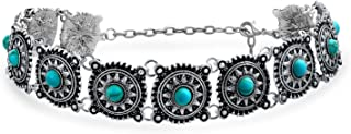 Bling Jewelry Southwestern Coachella Festival Style Flower Concho Choker Necklace for Teen for Women Oxidized Metal Adjustable