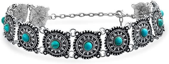 Bling Jewelry Southwestern Coachella Festival Style Flower Concho Choker Necklace for Teen for Women Oxidized Metal Adjustable