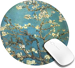 Vincent Van Gogh Blossoming Almond Tree Mouse Pad with Stitched Edge Premium-Textured Round Gaming Mouse Mat Non-Slip Wate...