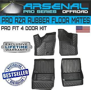 Arsenal 4 Door RZR Pro Race Floor Mats Liners Anti-Slip for 2014-2018 Polaris RZR XP 4 EPS 1000 900 S XC Turbo 4 Door Front and Rear All Weather Floor Liners,Black (4PC)