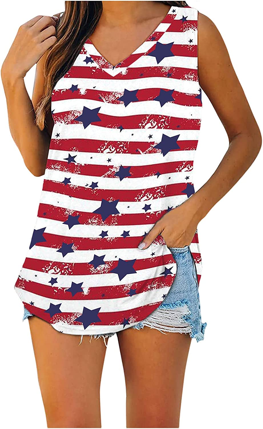 Summer Tank Tops for Women, 2021 4th of July Shirts Sleeveless Tees American Flag Casual T Shirt Blouses