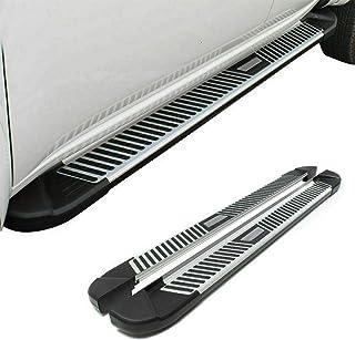 OMAC Acessórios exteriores de automóveis trilho de degrau | pranchas de corrida pretas e prateadas de alumínio 2 peças. | ...